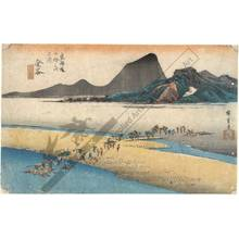 Utagawa Hiroshige: Kanaya: The distant bank of the Oi river (station 24, print 25) - Austrian Museum of Applied Arts