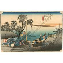 Utagawa Hiroshige: Fujikawa: The boundary-marker (station 37, print 38) - Austrian Museum of Applied Arts