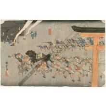 歌川広重: Miya: Religious festival at Atsuta-shrine (Station 41, Print 42) - Austrian Museum of Applied Arts