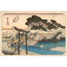 歌川広重: Fujisawa: The Yugyo-Tempel (Station 6, Print 7) - Austrian Museum of Applied Arts