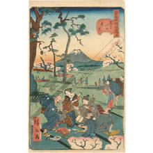 Utagawa Hirokage: Number 5: Viewing cherry blossoms at Asukayama - Austrian Museum of Applied Arts