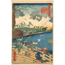 Utagawa Hirokage: Number 7: Typhoon at the New Great bridge - Austrian Museum of Applied Arts