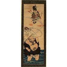 Utagawa Yoshikazu: Fukurokuju and Hotei (title not original) - Austrian Museum of Applied Arts