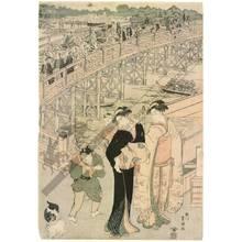 Utagawa Toyokuni I: Bustling crowds at the Ryogoku bridge (title not original) - Austrian Museum of Applied Arts