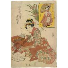 Utagawa Toyokuni I: Calligraphy disciple; small picture: Iwai Hanshiro as calligraphy disciple - Austrian Museum of Applied Arts
