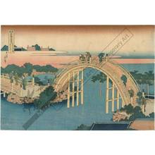 葛飾北斎: Drum bridge at the Kameido Tenjin Shrine - Austrian Museum of Applied Arts