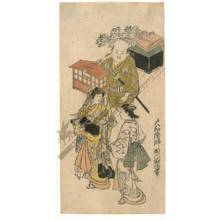西川祐信: Noble lady on an trip (title not original) - Austrian Museum of Applied Arts