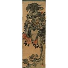 歌川広重: Training shishi cub (title not original) - Austrian Museum of Applied Arts