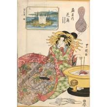 Utagawa Toyoshige: Courtesan Hanadori and kamuro Nioi and Tomeki from the Owari house, View of Tsukuda - Austrian Museum of Applied Arts