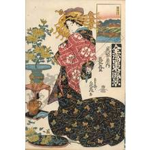 Teisai Sencho: Courtesan Naganobori from the Owari house, The Sumida river - Austrian Museum of Applied Arts
