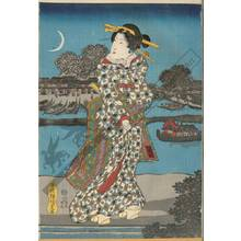 歌川国貞: View of the Sumida river at a summer evening - Austrian Museum of Applied Arts