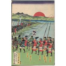 Utagawa Yoshikazu: Mashiba Hisayoshi goes to war by order of Ota Harunaga - Austrian Museum of Applied Arts