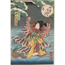 Utagawa Kunisada II: Winter, Nakamura Shikan as female mandarin duck - Austrian Museum of Applied Arts