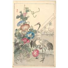 幸野楳嶺: Crane and morning glory (title not original) - Austrian Museum of Applied Arts