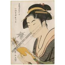 喜多川歌麿: Courtesan Ochie from the Koise house in Shinyashiki in the district Kobikicho - Austrian Museum of Applied Arts