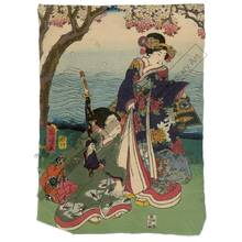 Utagawa Kuniaki: Women beneath a cherry tree (title not original) - Austrian Museum of Applied Arts