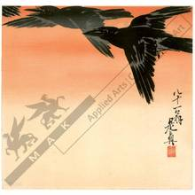 Shibata Zeshin: Crows against the sunrise (title not original) - Austrian Museum of Applied Arts