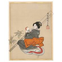 歌川国貞: Beauty holding a toothstick (title not original) - Austrian Museum of Applied Arts
