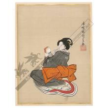 歌川国貞: Beauty holding a toothstick (title not original) - Austrian Museum of Applied Arts