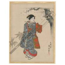 Utagawa Sadahide: Beauty beneath a cherry tree (title not original) - Austrian Museum of Applied Arts