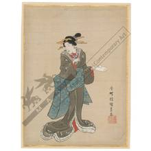 Utagawa Kunisada: Standing beauty (title not original) - Austrian Museum of Applied Arts