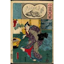 Utagawa Kuniyoshi: Poem 53: The mother of the imperial commander Michinobu - Austrian Museum of Applied Arts