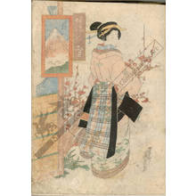 渓斉英泉: Courtesan befor plum tree (title not original) - Austrian Museum of Applied Arts