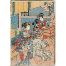 Utagawa Kuniteru: Kudamijo does a good deed in setting her birds free - Austrian Museum of Applied Arts