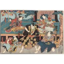 Utagawa Kunisada: Chunagon Yukihira, Matsukaze from Suma, Yomosaku, Yakko Ranpei and his only child Shigezo - Austrian Museum of Applied Arts