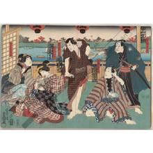 歌川国貞: Kurozu Gunzo, Omatsuri no Kingoro, Yoine no Nisan, Gaku no Osan and Otaki from the Tama house - Austrian Museum of Applied Arts