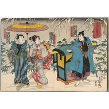 "Utagawa Kunisada: Kabuki play ""Goban Tadanobu yuki no nachiguro"" - Austrian Museum of Applied Arts"