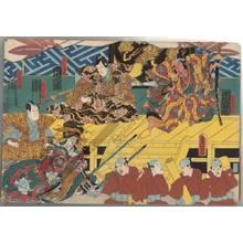 Utagawa Kunisada: Iwanaga Saemon, the official Shigetada, Akoya and Hanzawa Rokuro - Austrian Museum of Applied Arts