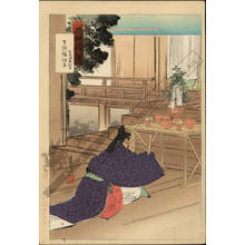 尾形月耕: The nobleman Wake no Kiyomaro visiting the Usa Hachiman Shrine - Austrian Museum of Applied Arts