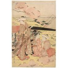 細田栄之: Viewing cherry blossoms in Gotenyama (title not original) - Austrian Museum of Applied Arts