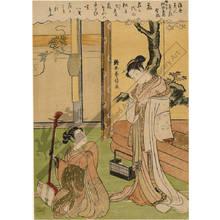 鈴木春信: Wisteria: The courtesan Nokaze from the Matsuzaka house in the southern pleasure quarter - Austrian Museum of Applied Arts