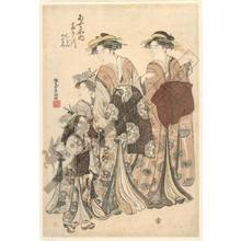 勝川春潮: Courtesan Takigawa, and Kamuro Onami and Menami from the Ogi house - Austrian Museum of Applied Arts