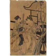 喜多川歌麿: Women and girl beside a carriage (title not original) - Austrian Museum of Applied Arts