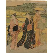 Katsukawa Shuncho: A promenade through the rice fields (title not original) - Austrian Museum of Applied Arts