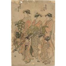 Katsukawa Shuncho: Courtesan Komurasaki and kamuro Hatsune and Utano from the Kadotama house; Courtesan Sugawara and kamuro Mumeno and Takeno from the Moya house - Austrian Museum of Applied Arts