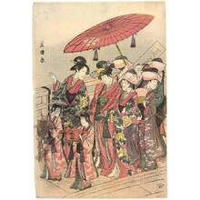 Utagawa Toyokuni I: Procession on the bridge - Austrian Museum of Applied Arts