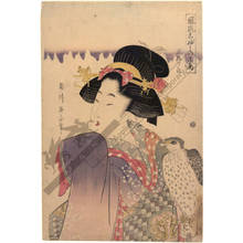 Kikugawa Eizan: Falcon on a beauty's fist, Set of three prints - Austrian Museum of Applied Arts
