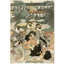 菊川英山: Banquet at Ogi house in New Yoshiwara - Austrian Museum of Applied Arts