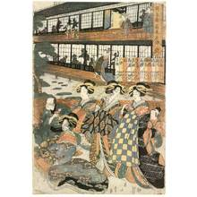 Kikugawa Eizan: Banquet at Ogi house in New Yoshiwara - Austrian Museum of Applied Arts