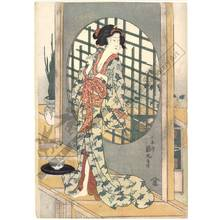 Utagawa Kunimaru: Beauty cleaning her teeth (title not original) - Austrian Museum of Applied Arts