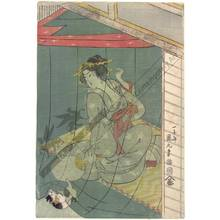 Utagawa Kunimaru: Beauty and a cat playing with the moscito net (title not original) - Austrian Museum of Applied Arts