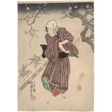 歌川国芳: Actor under a plum tree (title not original) - Austrian Museum of Applied Arts
