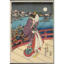 Utagawa Kunisada: On the bridge (title not original) - Austrian Museum of Applied Arts