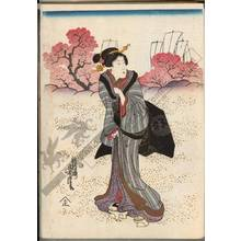 歌川芳虎: Viewing cherry blossoms (title not original) - Austrian Museum of Applied Arts