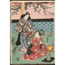 Utagawa Kunisada: Practising ikebana on a spring morning - Austrian Museum of Applied Arts