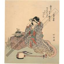 Katsushika Hokusai: Woman with shamisen (title not original) - Austrian Museum of Applied Arts